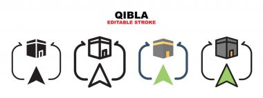 Qibla icon set with different styles. Icons designed in filled, outline, flat, glyph and line colored. Editable stroke and pixel perfect. Can be used for web, mobile, ui and more. icon