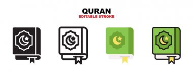 Quran icon set with different styles. Icons designed in filled, outline, flat, glyph and line colored. Editable stroke and pixel perfect. Can be used for web, mobile, ui and more. icon
