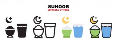 Suhoor icon set with different styles. Icons designed in filled, outline, flat, glyph and line colored. Editable stroke and pixel perfect. Can be used for web, mobile, ui and more. icon