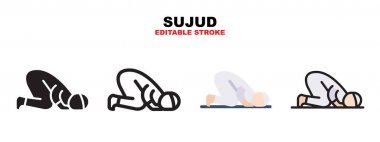 Sujud icon set with different styles. Icons designed in filled, outline, flat, glyph and line colored. Editable stroke and pixel perfect. Can be used for web, mobile, ui and more. icon