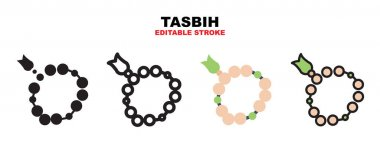 Tasbih icon set with different styles. Icons designed in filled, outline, flat, glyph and line colored. Editable stroke and pixel perfect. Can be used for web, mobile, ui and more. icon