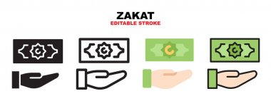 Zakat icon set with different styles. Icons designed in filled, outline, flat, glyph and line colored. Editable stroke and pixel perfect. Can be used for web, mobile, ui and more. icon