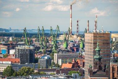 Gdansk, Poland- September 19,2015:Big green cranes in shipyard o