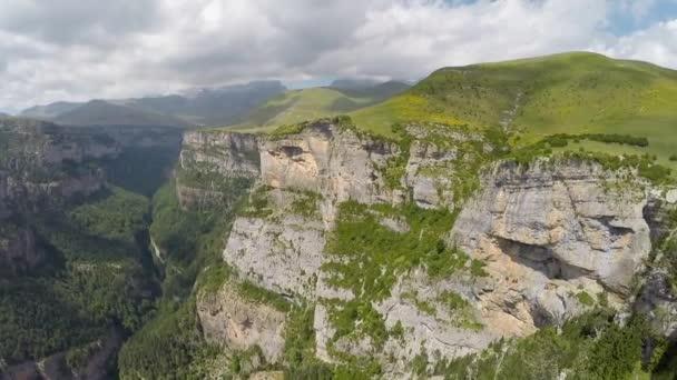Aerial video of Canyon de Anisclo in Parque Nacional Ordesa y Monte Perdido, Spain