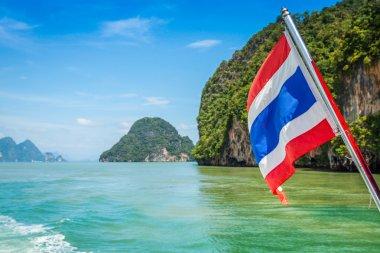 Thai flag on sea