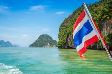 Thai flag on sea