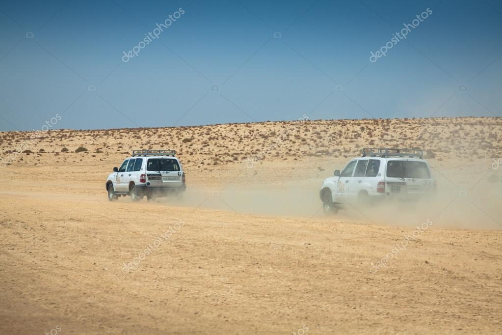Tozeur,Tunisia-15,August,2013:Image of off road cars in the dese
