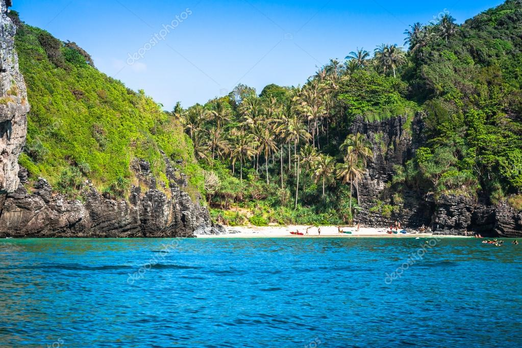 Tropical island with resorts - Phi-Phi island, Krabi Province, T