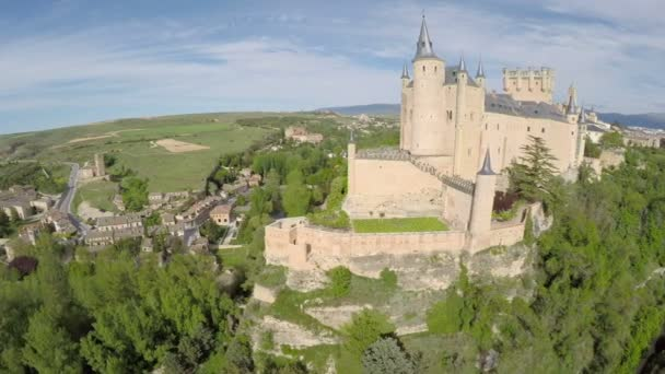 Aerial footage The spanish castle Alcazar of Segovia, in Castilla and Leon, Spain