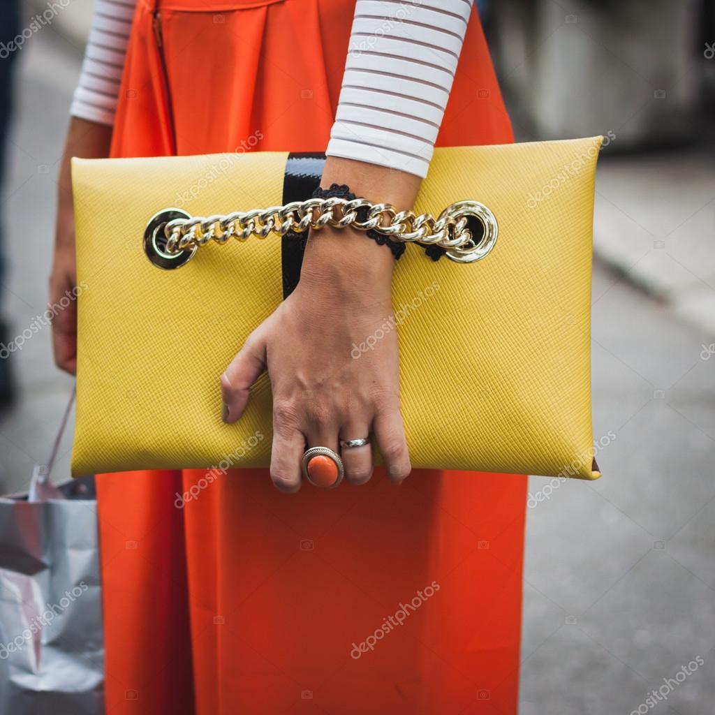 19684dd2 Detail of bag outside Gucci fashion shows building for Milan Women's  Fashion Week 2014– Stock Editorial Photography