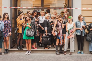 People outside Missoni fashion shows building for Milan Women's Fashion Week 2014
