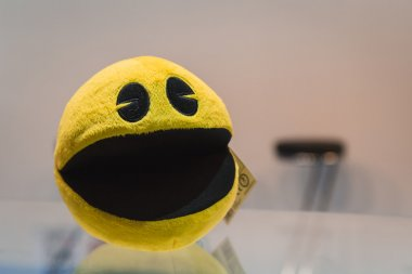 Pacman gadget on display at Games Week 2014 in Milan, Italy