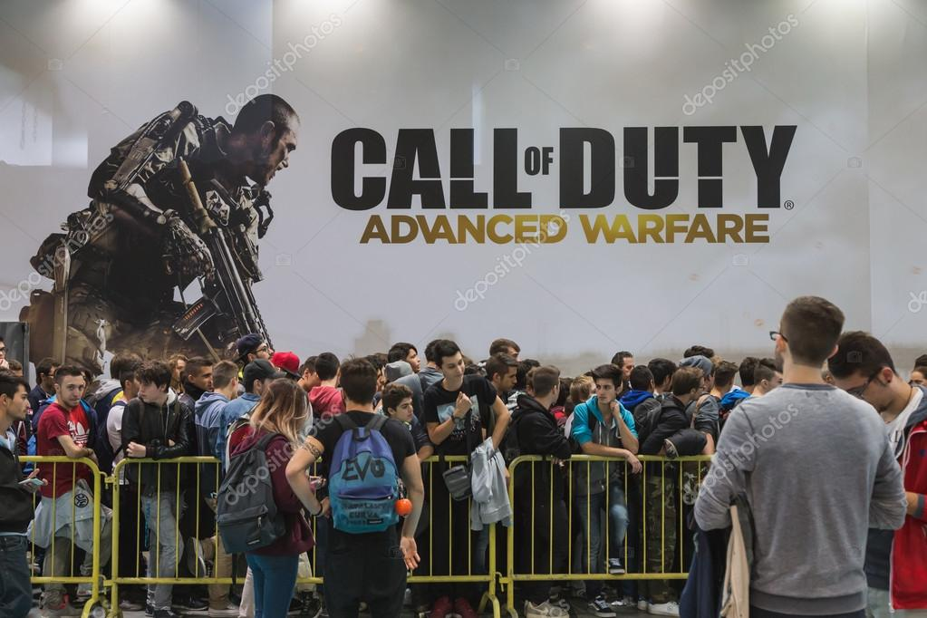 People waiting to enter Call of Duty stand at Games Week 2014 in Milan, Italy