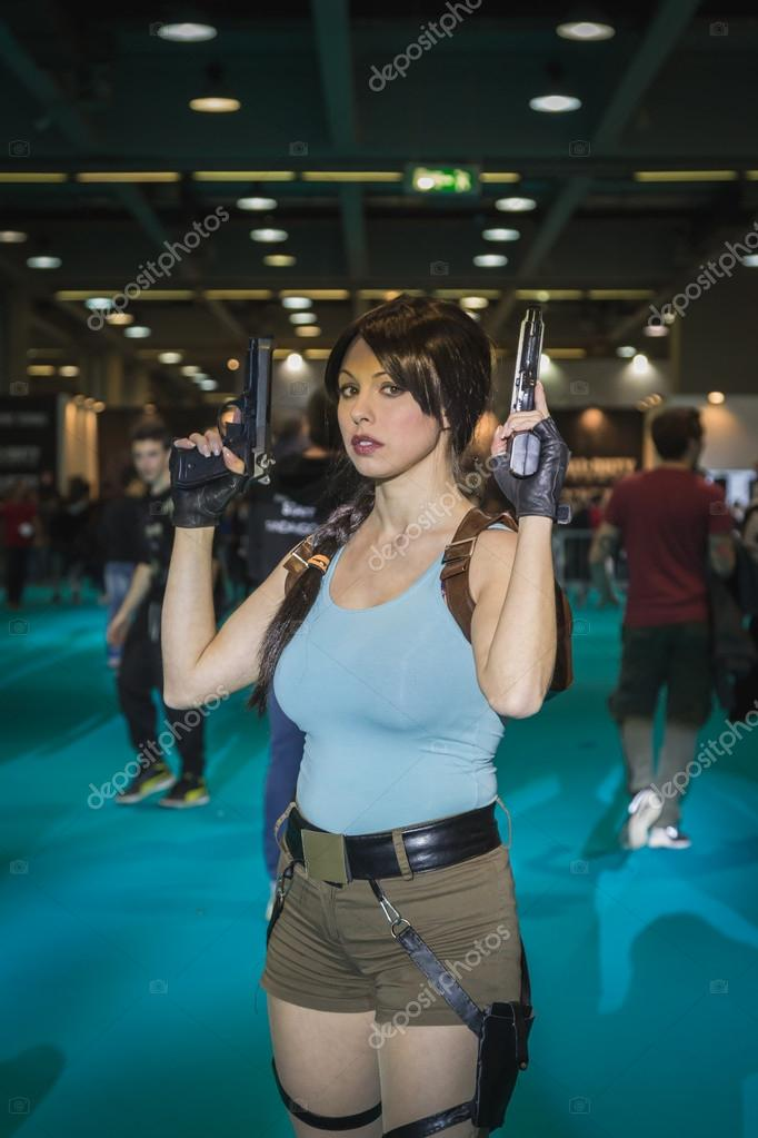 Lara Croft cosplayer posing at Games Week 2014 in Milan, Italy