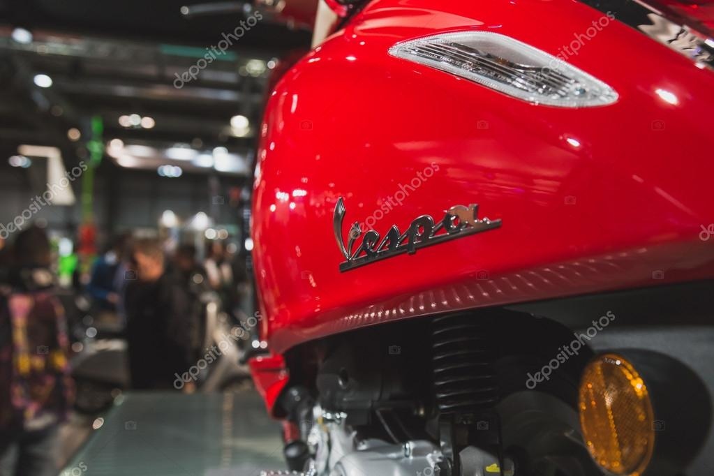 Detail of Vespa scooter on display at EICMA 2014 in Milan, Italy