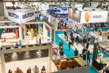 Top view of booths and people at Viscom 2015 in Milan, Italy