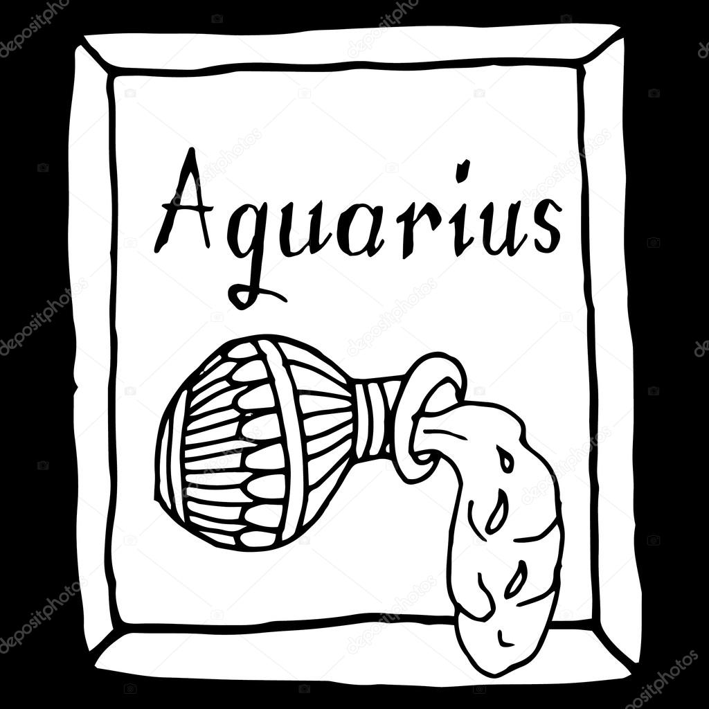 Aquarius horoscope sign vectorized hand draw stock vector aquarius horoscope sign vectorized hand draw black and white vector by zelena buycottarizona