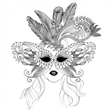 Mask illustration with feathers