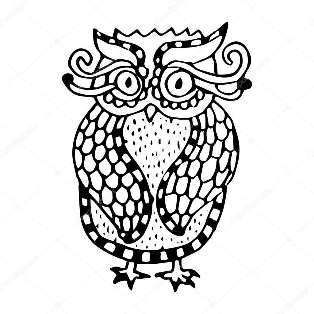 Funny owl illustration- original drawing vectorized