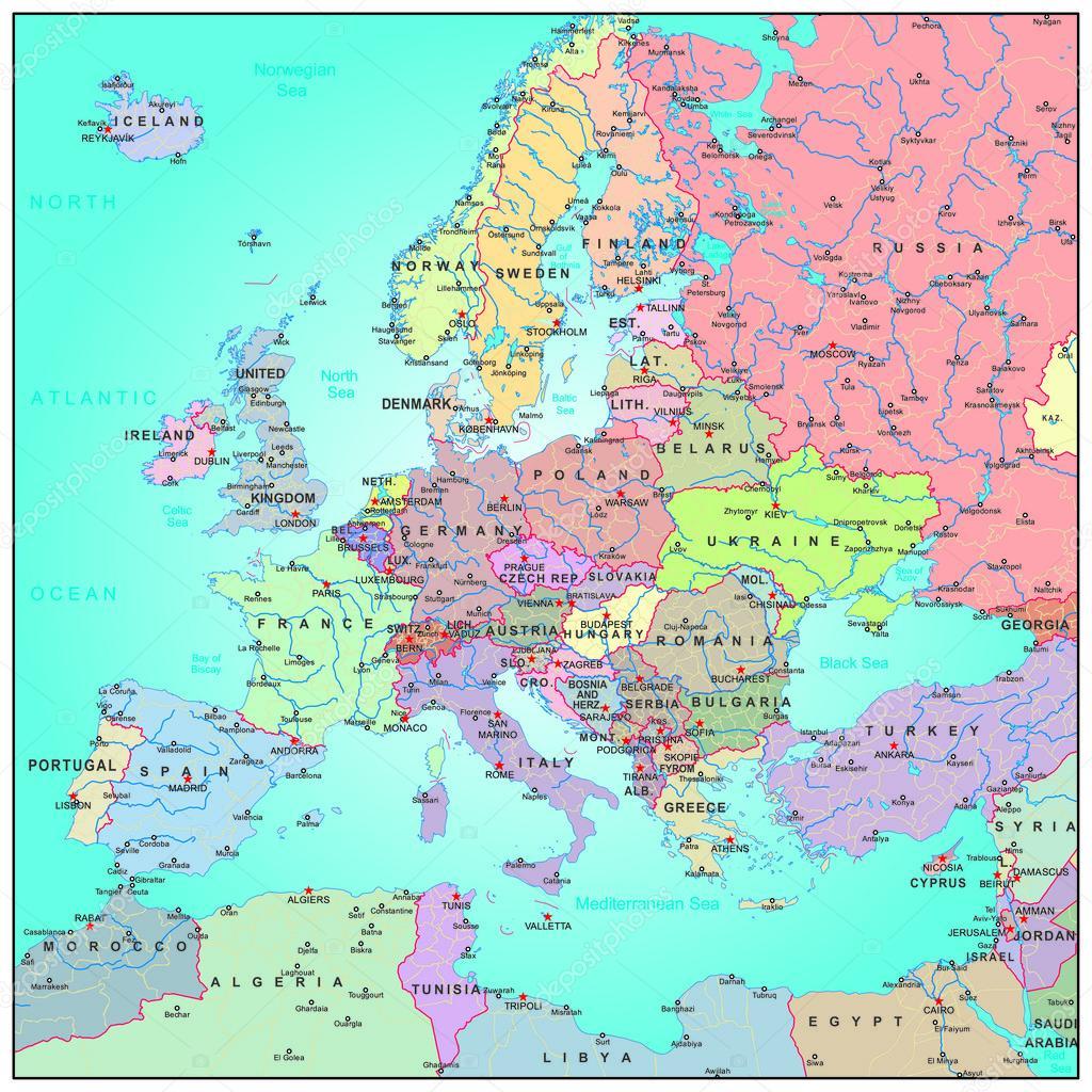 letölthető európa térkép Közigazgatási Térkép, Európa — Stock Vektor © BenKenogy #57633551 letölthető európa térkép
