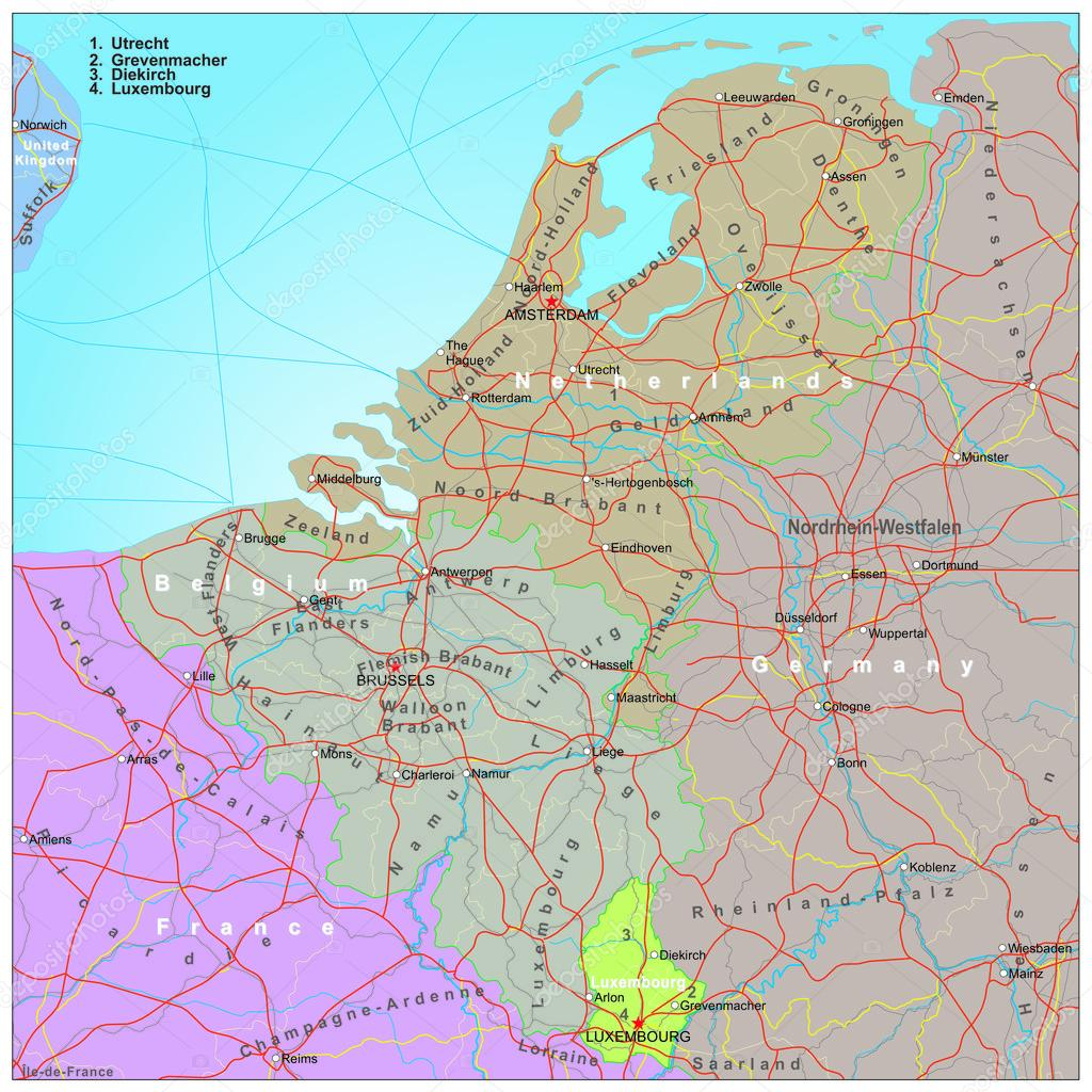 Road and administrative map of Belgium and Netherlands Stock