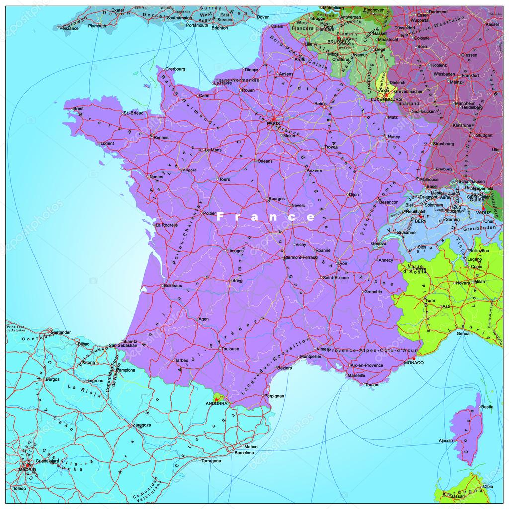 Downloadable Road Map Of France.Road And Administrative Map Of France Stock Vector C Benkenogy