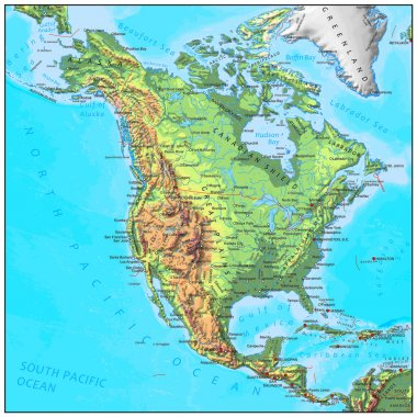 North America physical continent map