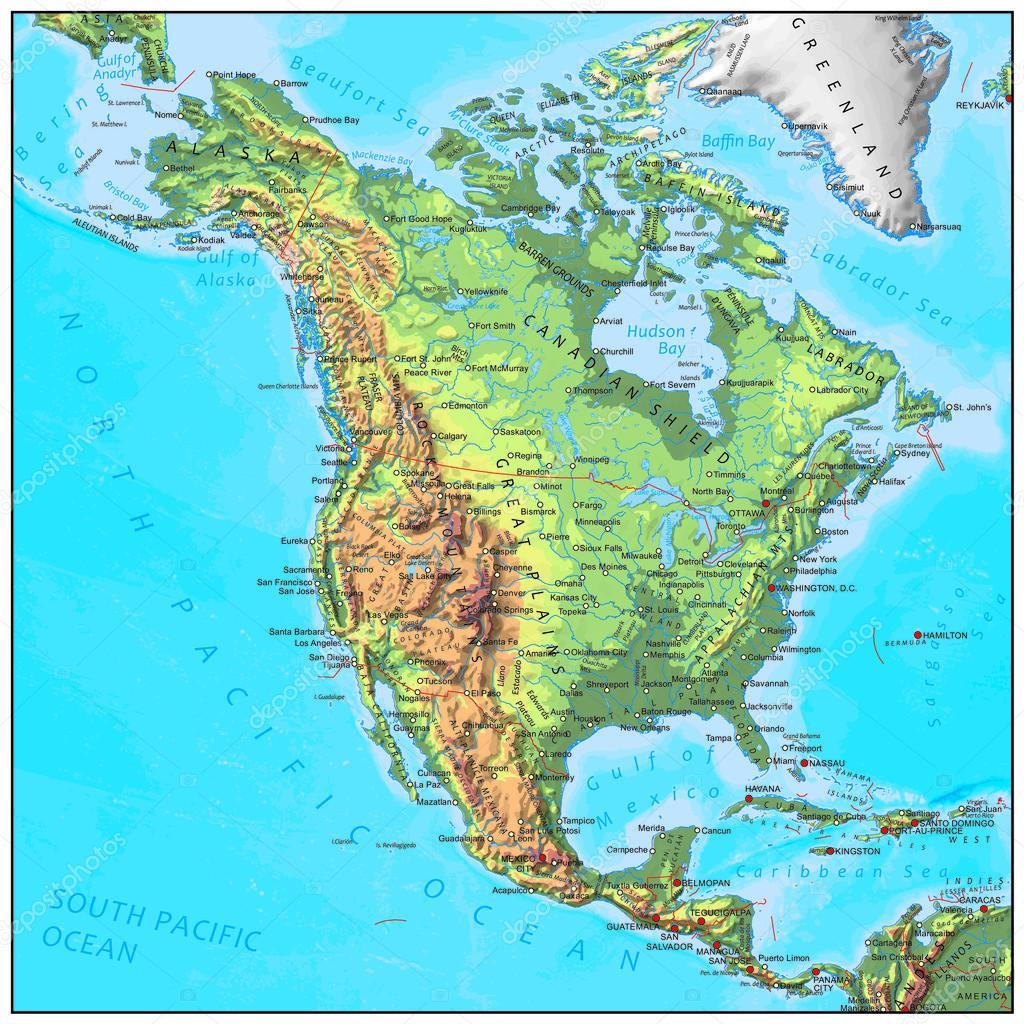 Carte Amerique Physique.Carte De Continent Physique En Amerique Du Nord Image