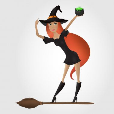 Red hair witch standing on the broomstick and holding cauldron w