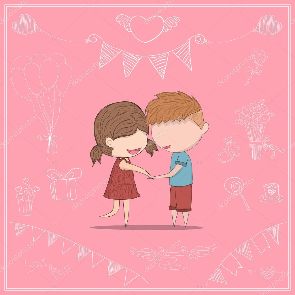 Cute cartoon doodle lovers a boy and a girl clasp. cute Valentin