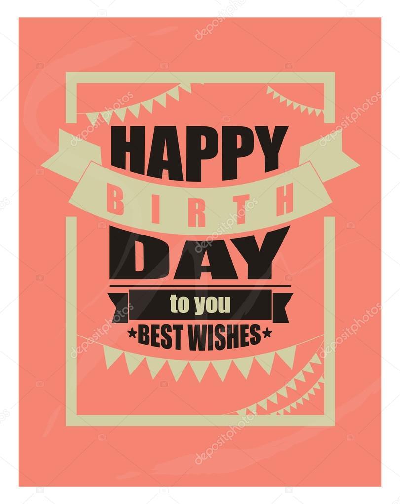 vector Vintage feliz cumpleaños tarjeta marco diseño — Vector de ...