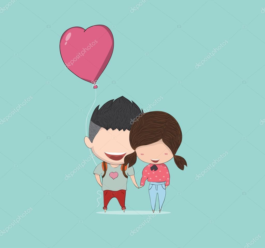 Fille et gar on avec coeur en forme de ballon joyeux anniversaire dessin image vectorielle - Dessin fille et garcon ...