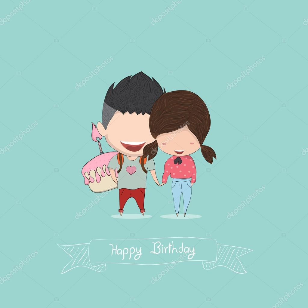 Boy And Girl With Birthday Cupcake Happy Birthday Drawing By H