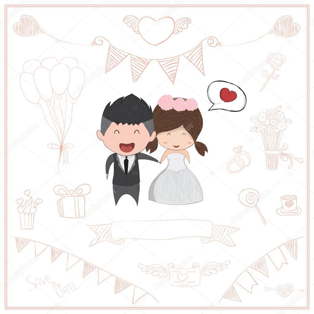 Niedlichen Cartoon Hochzeit Paar Manner Und Frauen Karte Niedlichen