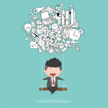 Cartoon businessman swinging on business doodles objects backgro