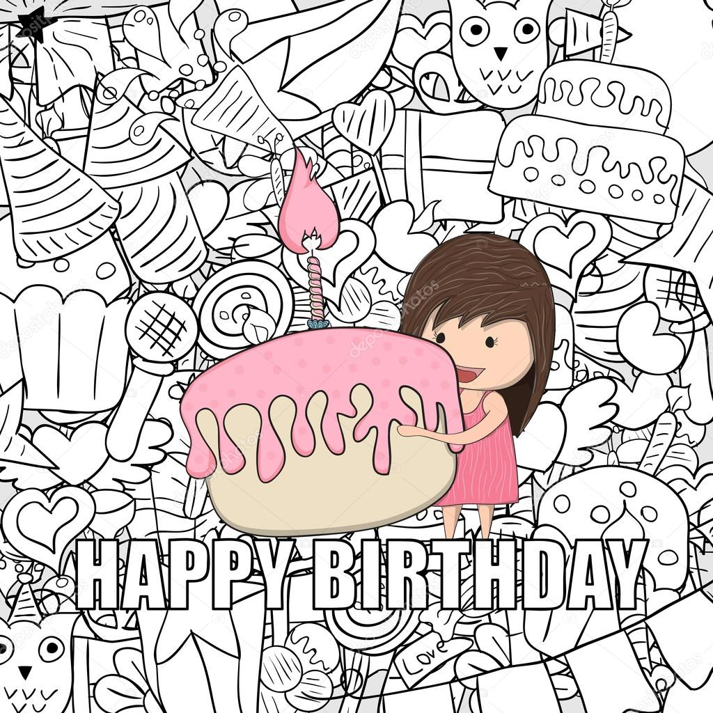 Girl With Birthday Cupcake Background Happy Doodles Drawing By Hand Vector Photoraidz