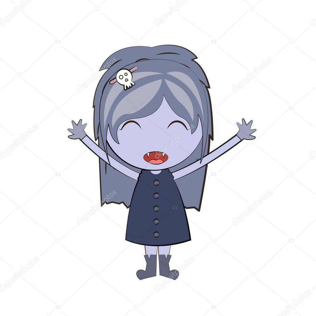 desenho animado feliz vampira bonita doodles desenhos vetor de