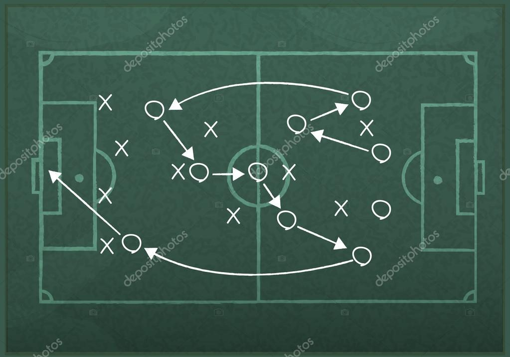 Lousa Realista Desenho De Uma Estratégia De Jogo De Futebol