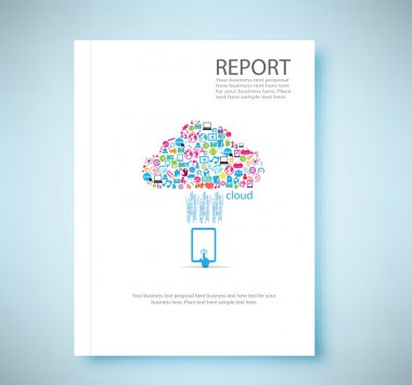 Cover report cloud social network background with media icons, v