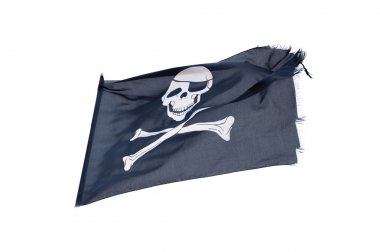 waving pirate flag jolly roger isolated on white