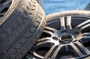 Racing car tire close up