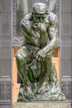 Thinker copper statue at columbia university philosophy building