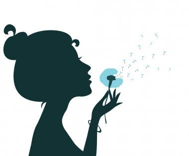 Silhouette of a young girl blowing dandelion