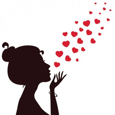 Silhouette of a girl blowing hearts away