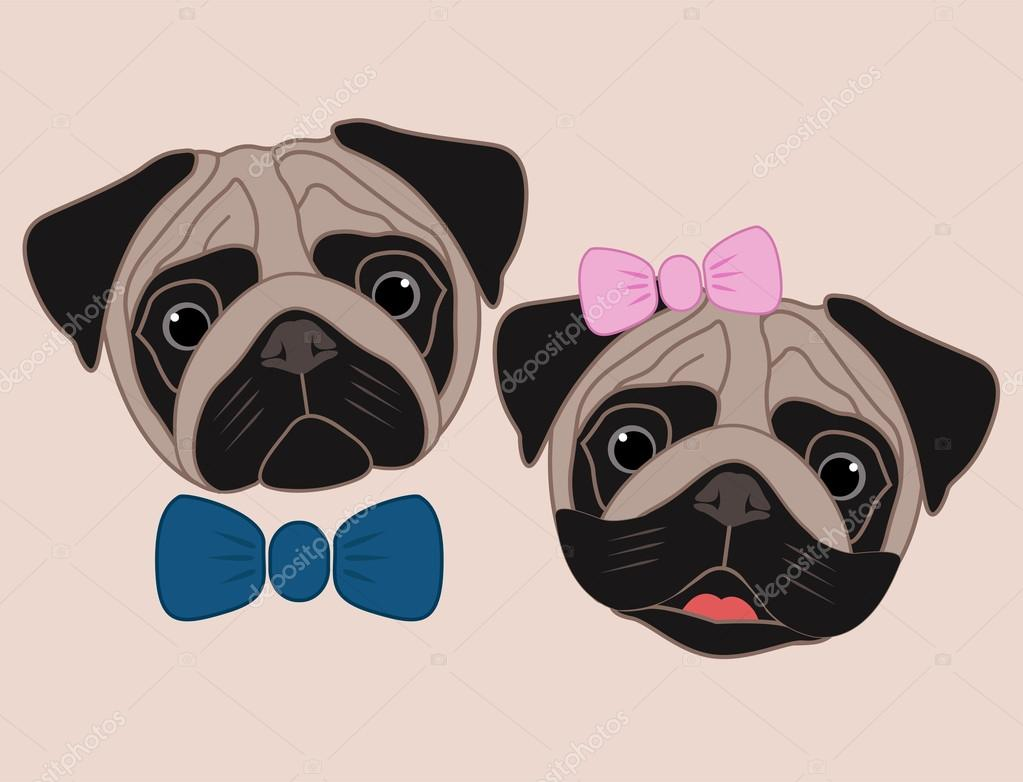 Pugs De Desenhos Animados. Menina E Menino