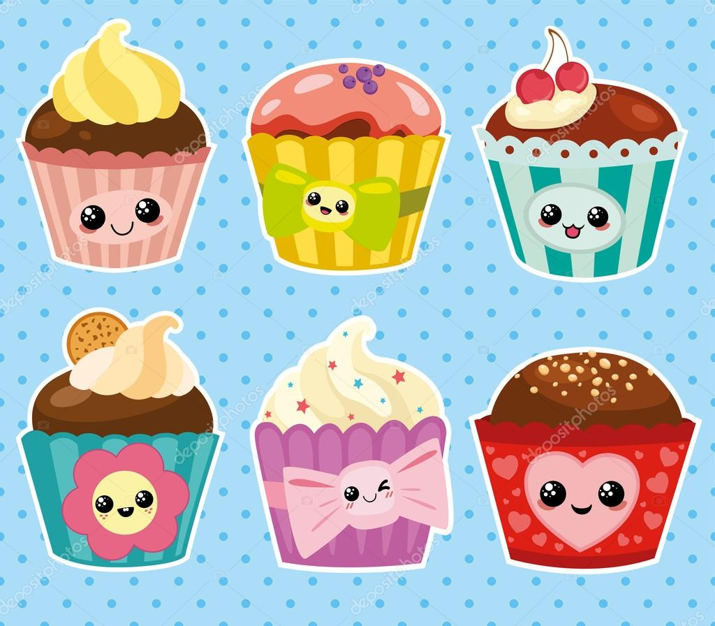 Set De Cupcakes De Dibujos Animados Archivo Imágenes Vectoriales