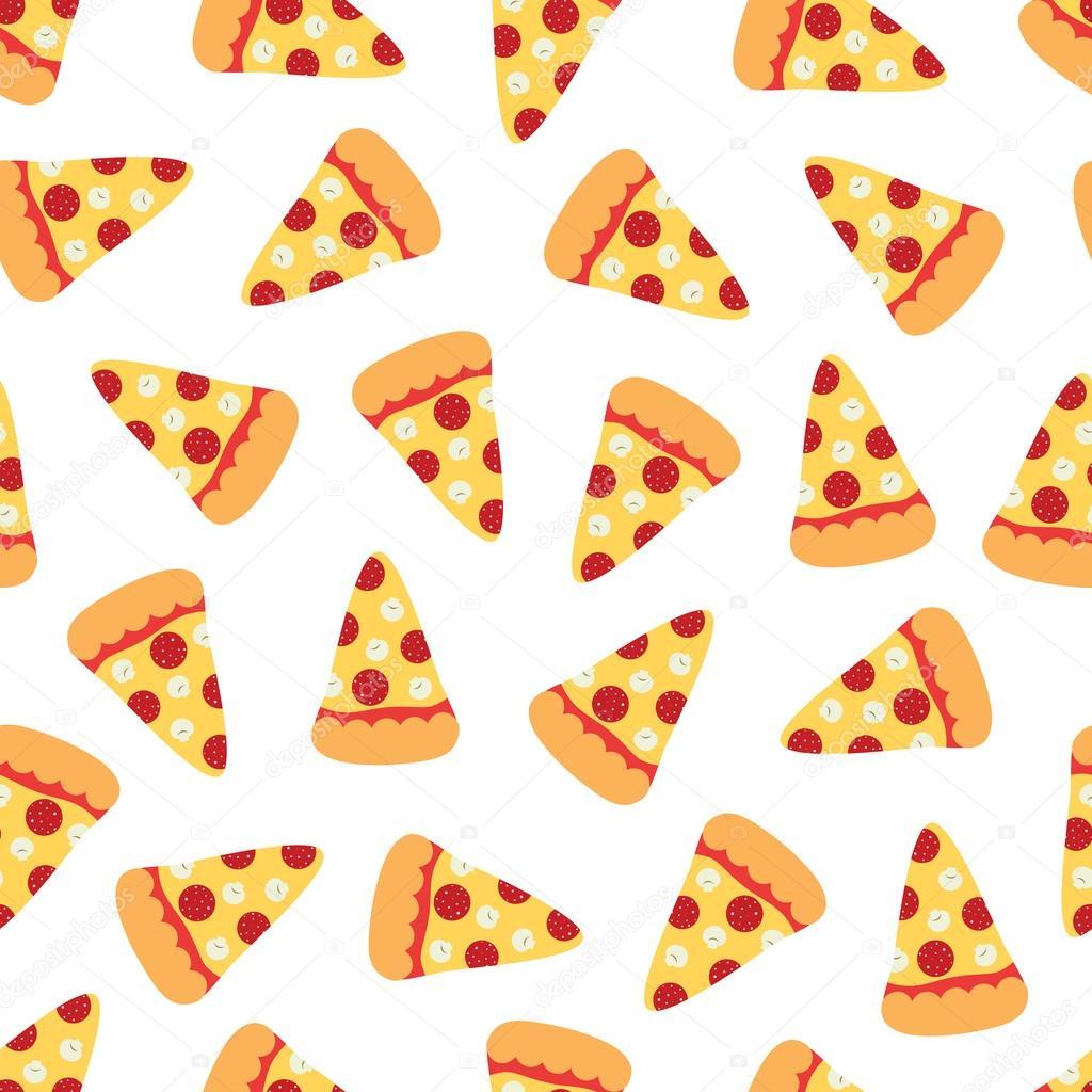 Pizza slices. Cartoon seamless pattern — Stock Vector ...