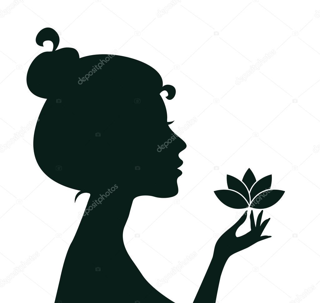 Картинка силуэт нюхающего цветы