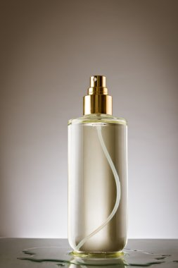 Perfume bottle on reflective surface