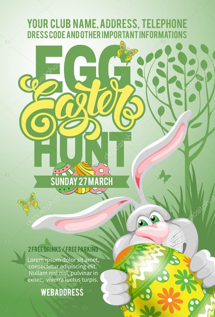 Easter Egg Hunt Flyer Template  Stock Vector  Pazhyna